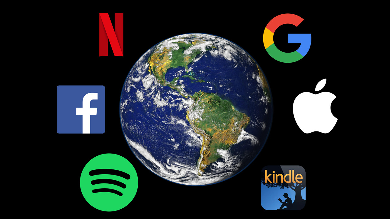 A slide showing the planet Earth surrounded by logos for technology companies – Spotify, Facebook, Netflix, Google, Apple and Amazon Kindle