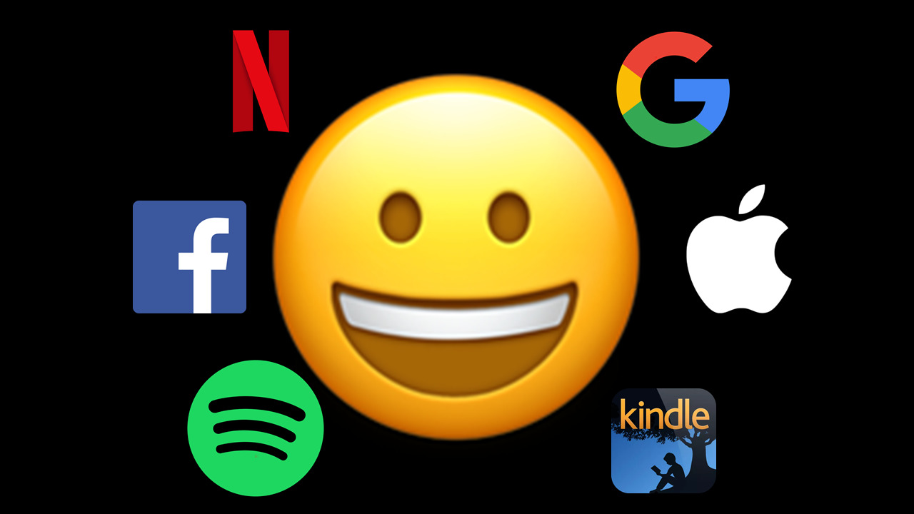 A slide showing a smiling face emoji surrounded by logos for technology companies – Spotify, Facebook, Netflix, Google, Apple and Amazon Kindle