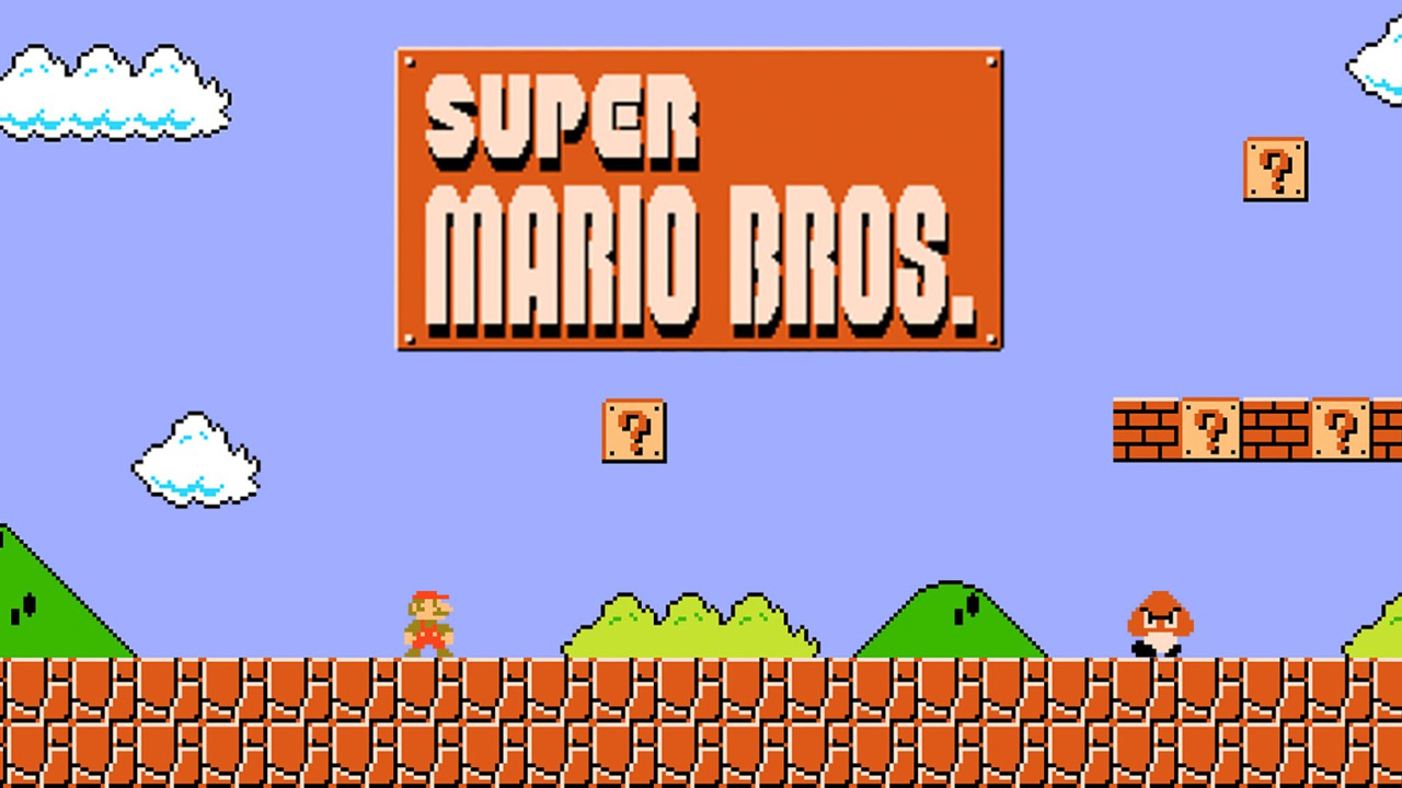 A screenshot from the Super Mario Bros video game running on the Nintendo Entertainment System
