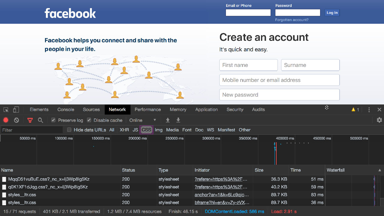 A screenshot showing the Google Chrome network inspector for facebook.com