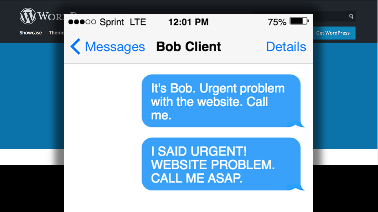 A mocked-up mobile phone screen showing two messages from Bob Client about an urgent website problem