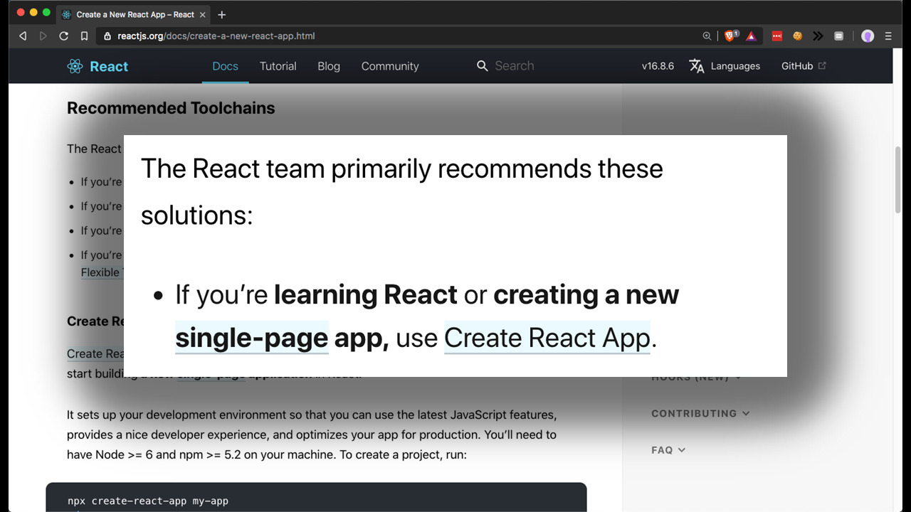 "A screenshot of a page from reactjs.org, with the words ""The React team primarily recommends these solutions: if you're learning React or creating a new single-page app, use Create React App"""
