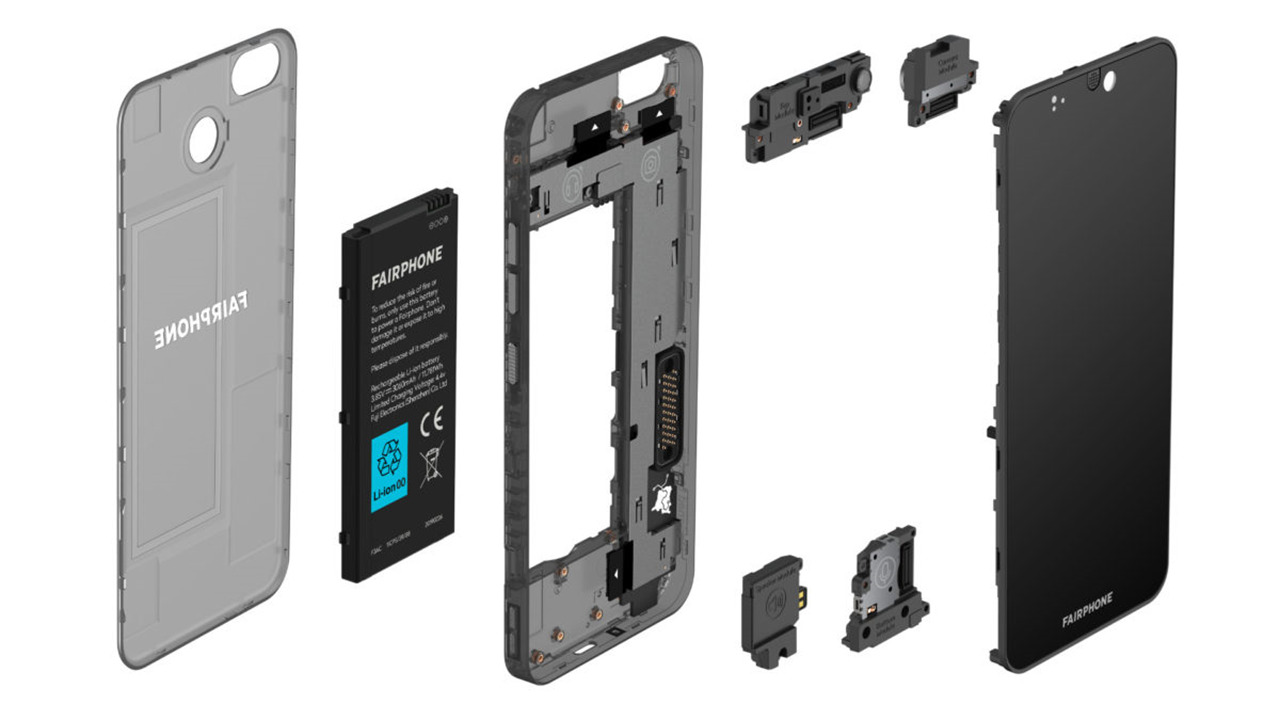 Exploded view of the Fairphone 3 modular smartphone handset / fairphone.com