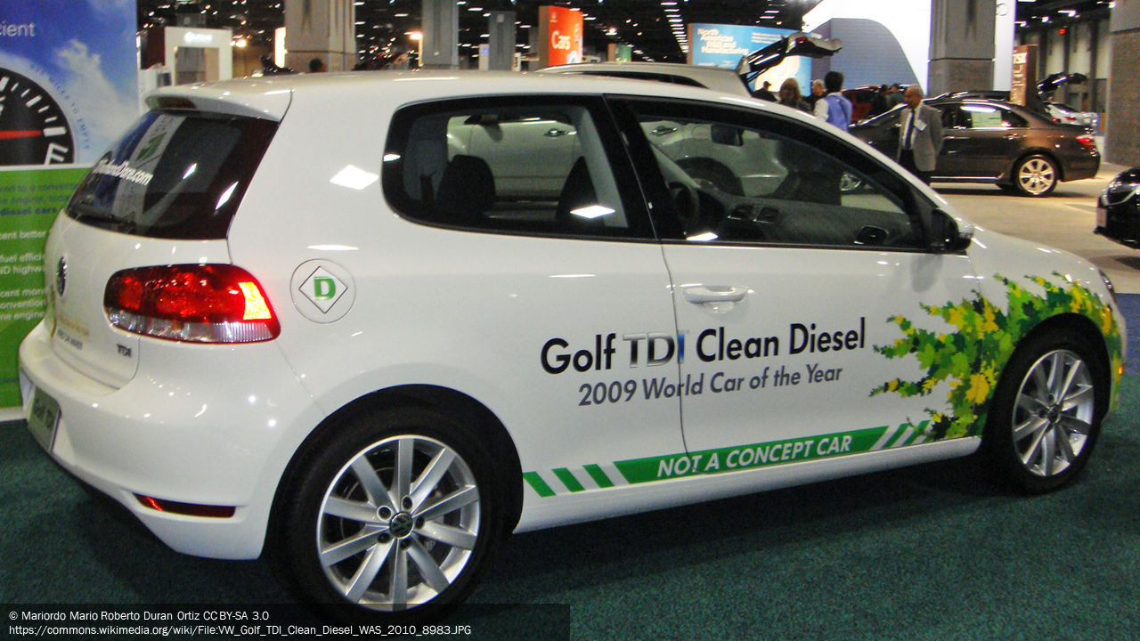 Photograph of a Volkswagen Golf TDI car with the words 'Golf TDI Clean Diesel' printed on the side