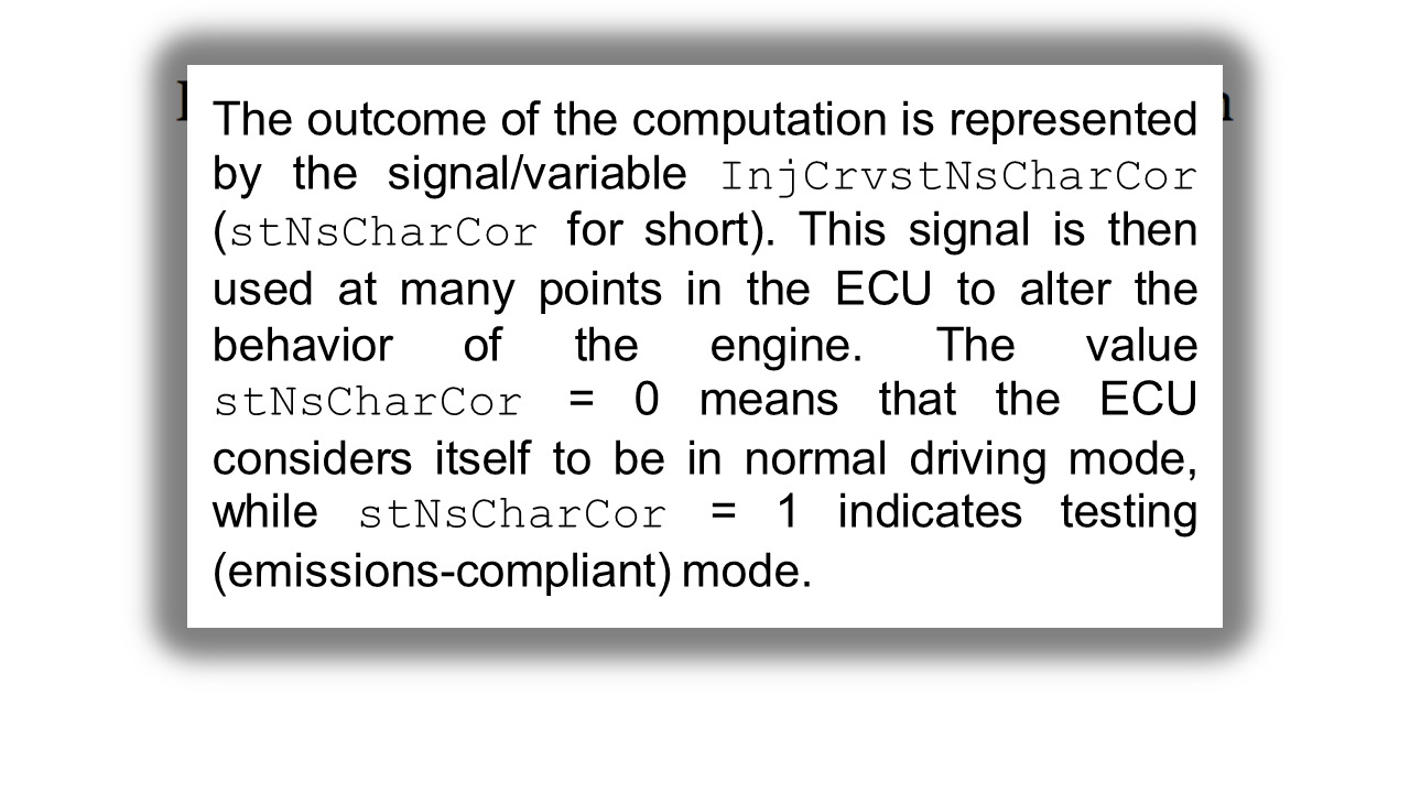 Extract from a scientific paper showing an explanation of the code used in the Volkswagen engine management software.