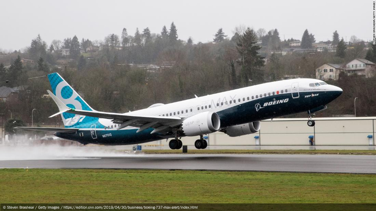 Photograph of a Boeing 737 MAX aircraft