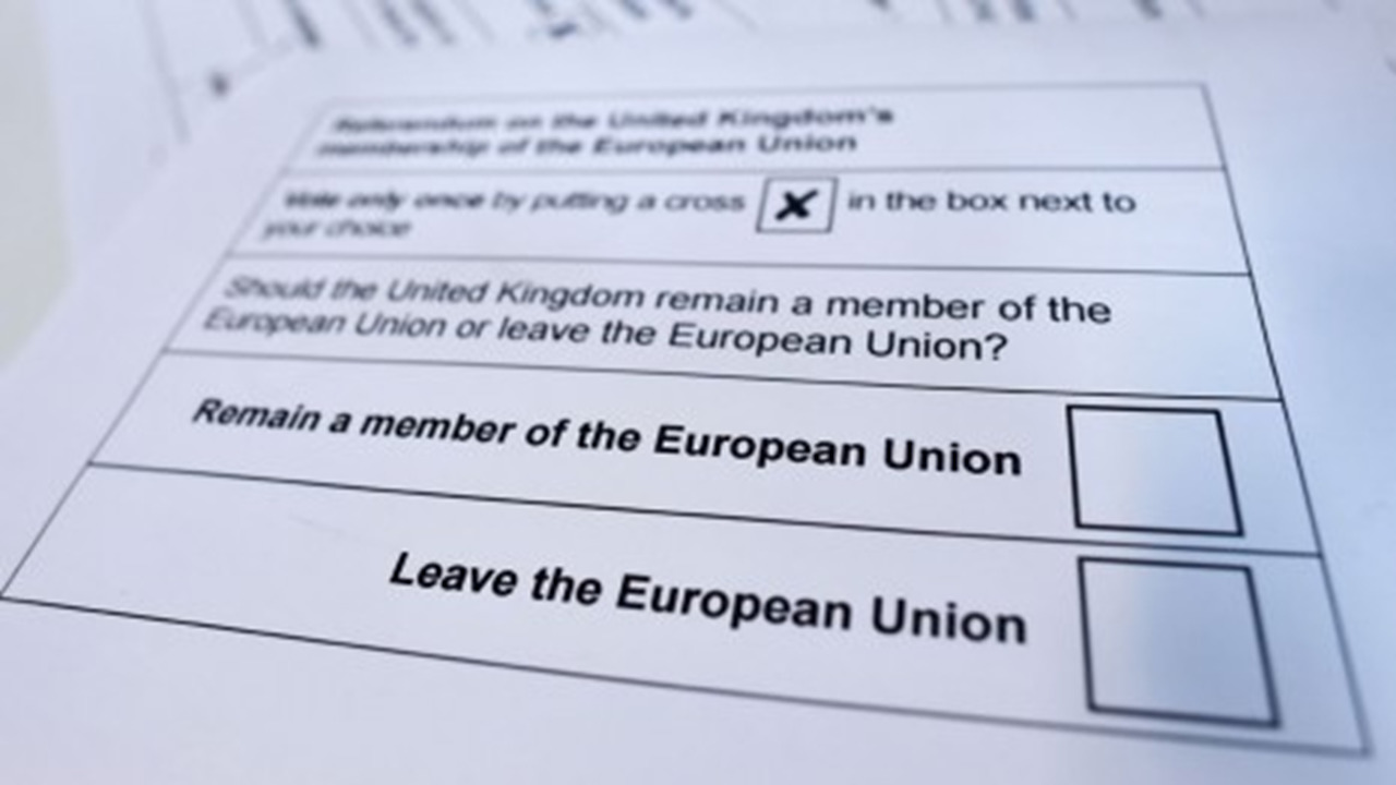 Photograph of a ballot card from the 2016 UK referendum on leaving the European Union