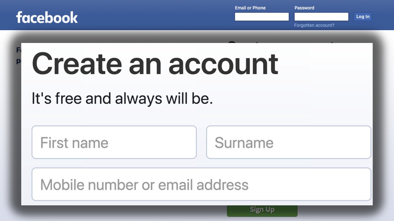 Screenshot of a detail from the homepage of facebook.com