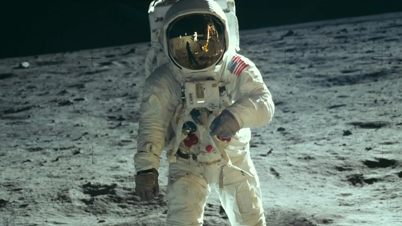 Buzz Aldrin walking on the moon, Apollo 11, 1969