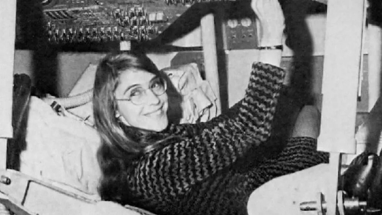 Photograph of Margaret Hamilton in the Apollo 11 capsule, 1969