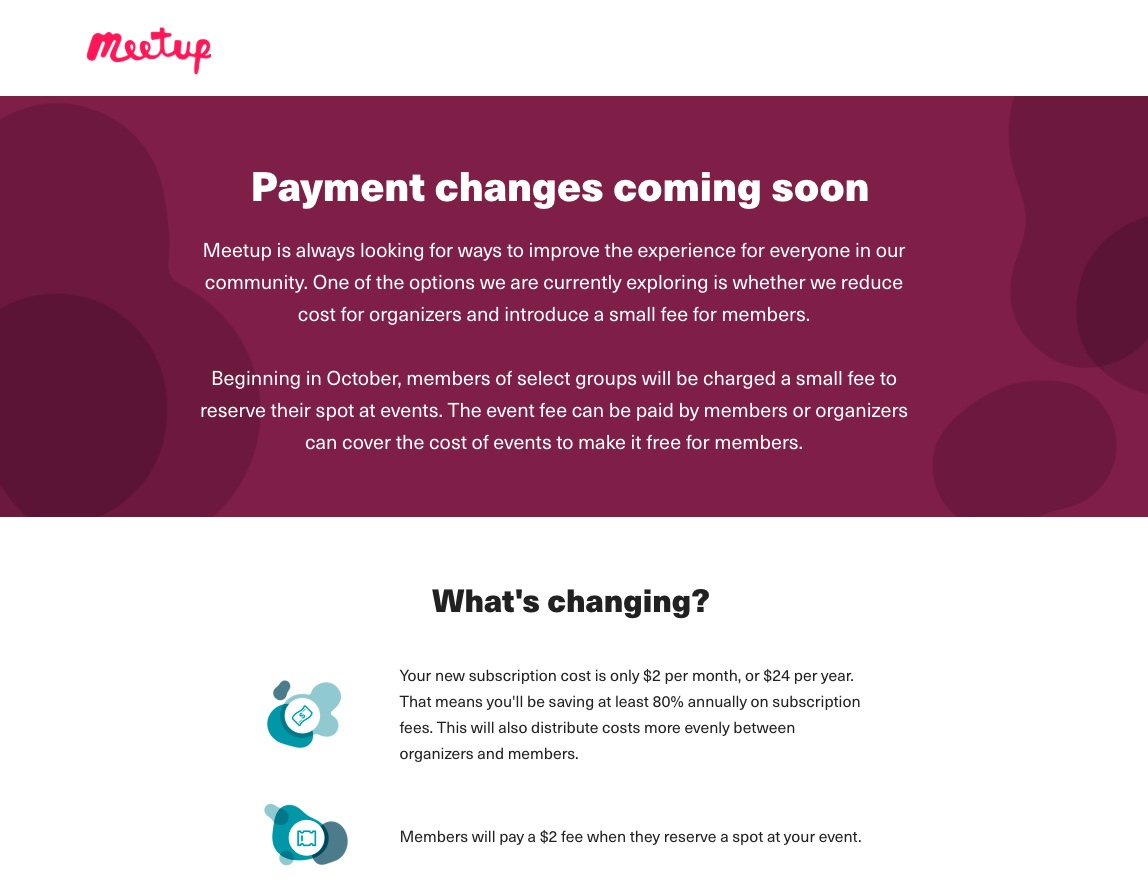 A screenshot of the meetup.com website announcing their plans to charge members a $2 fee to register for events