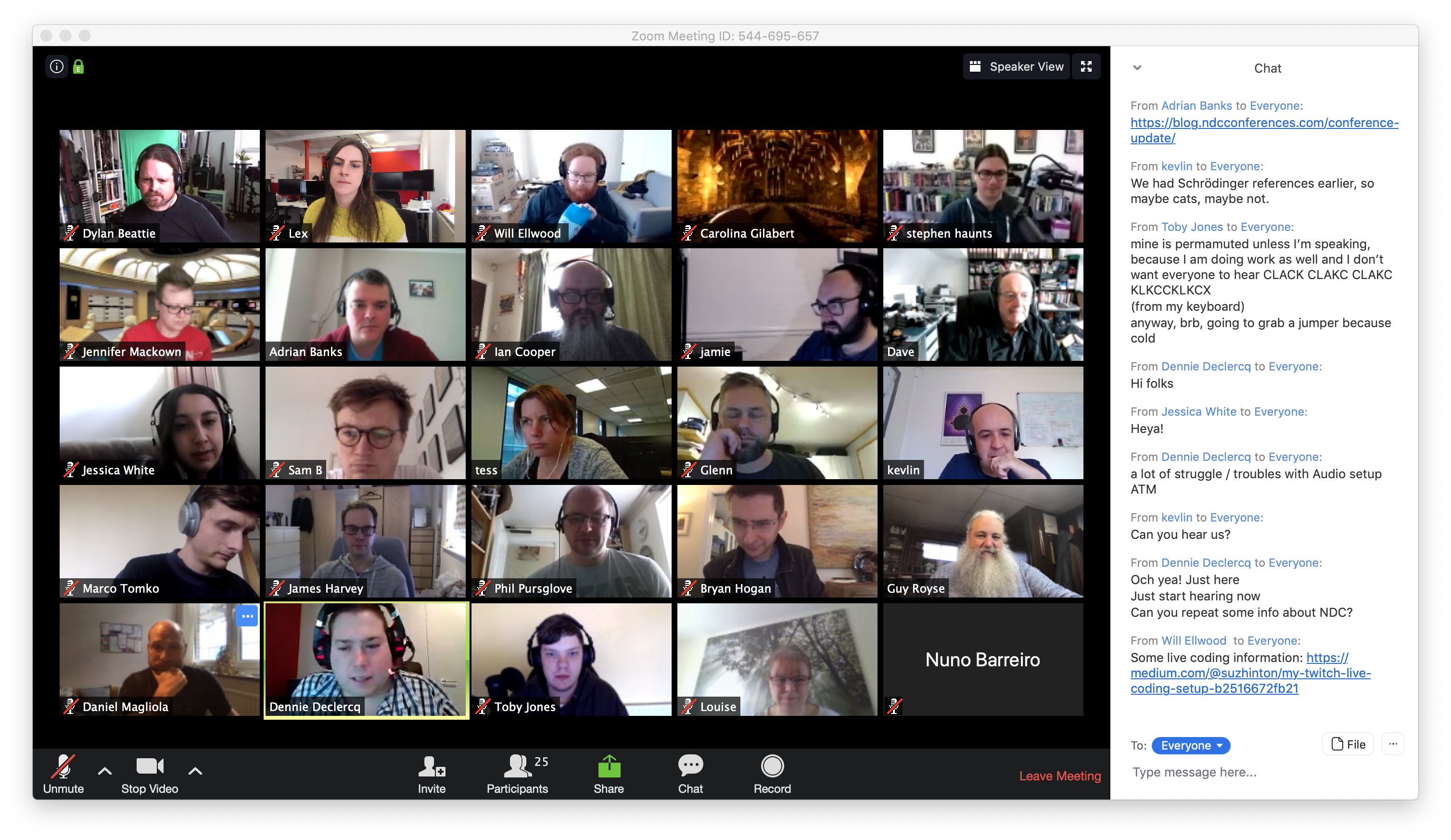 Screenshot of a Zoom meeting with lots of participants